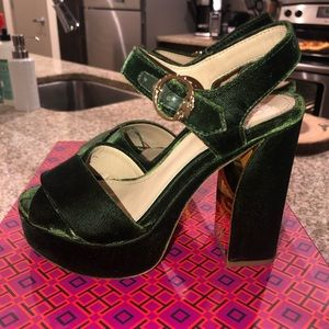 0dcc1623828 Tory Burch Shoes - Green Velvet Loretta Platforms from Tory Burch